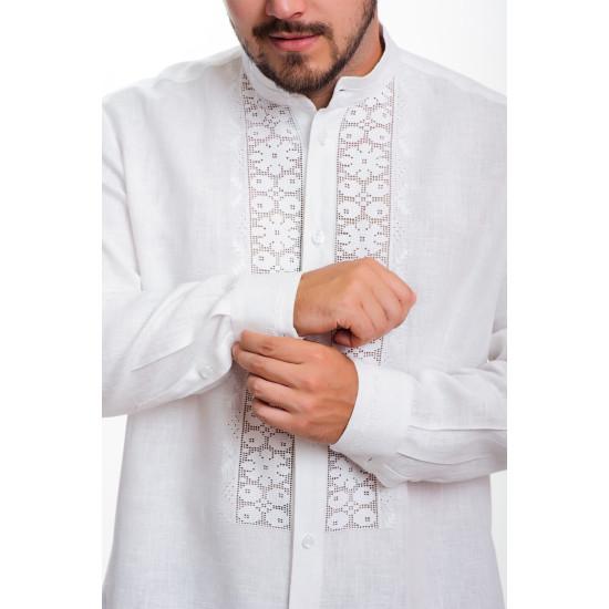 Вишита сорочка Білий цвіт (класична зі стійкою)