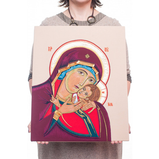 Вишита ікона Богородиця з дитям